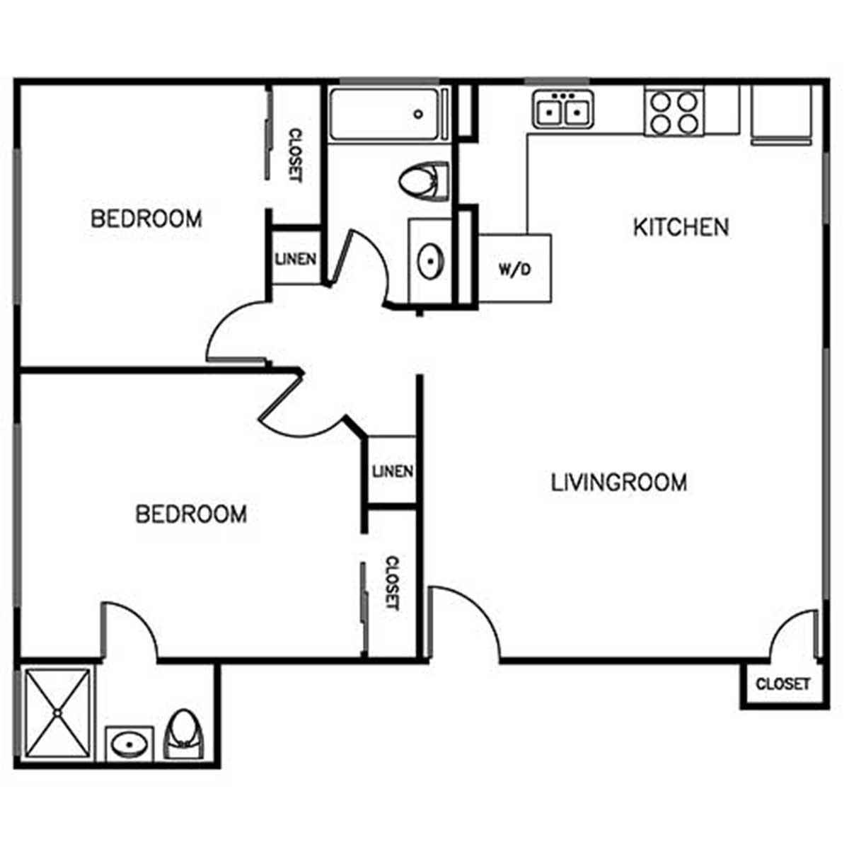 2 bedroom 2 bathroom townhome layout